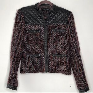 Zara Quilted Leather Tweed Chanel Style Jacket